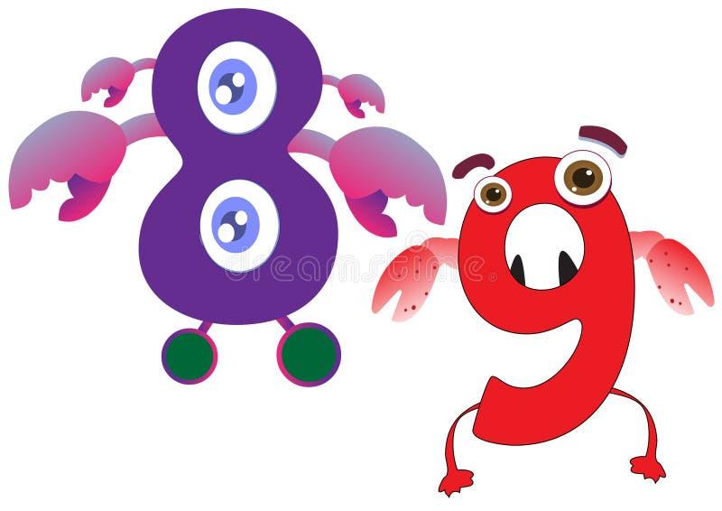 Il mostro sveglio numera 8 e 9 per i bambini ed i bambini illustrazione vettoriale