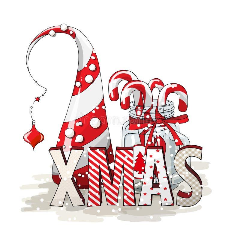 Il motivo di feste, il natale delle lettere con l'albero astratto del cono ed il vetro stonano con i bastoncini di zucchero, illu illustrazione di stock