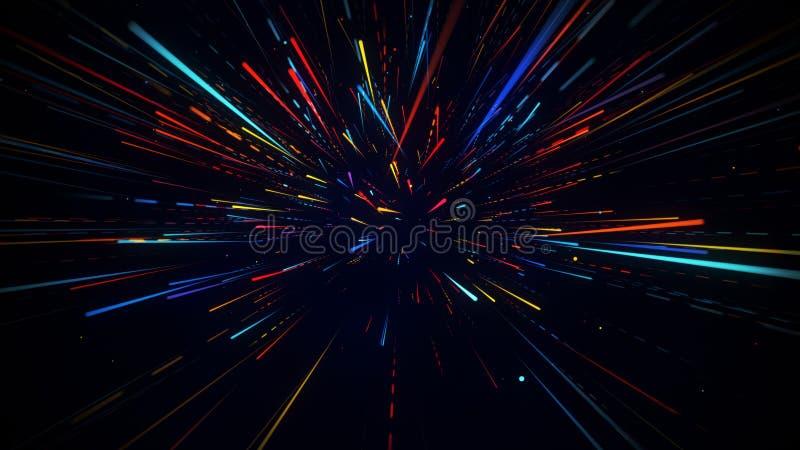 Il moto radiale variopinto ha offuscato il fondo astratto dei raggi luminosi illustrazione di stock