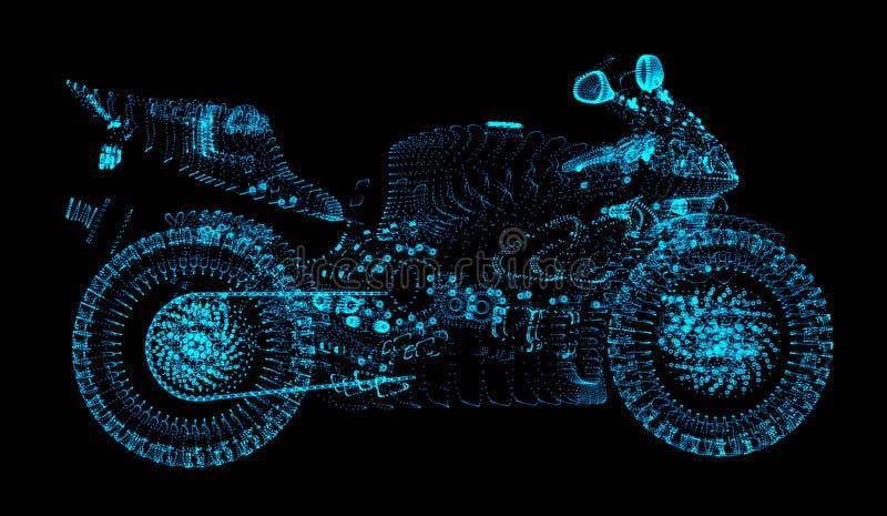 Il motocross consiste dei cerchi e dei punti Mette in mostra il concetto nello stile del punto illustrazione vettoriale