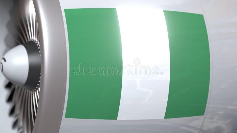 Il motore di aerei con la bandiera della Nigeria, trasporto di aria nigeriano ha collegato la rappresentazione 3D illustrazione di stock