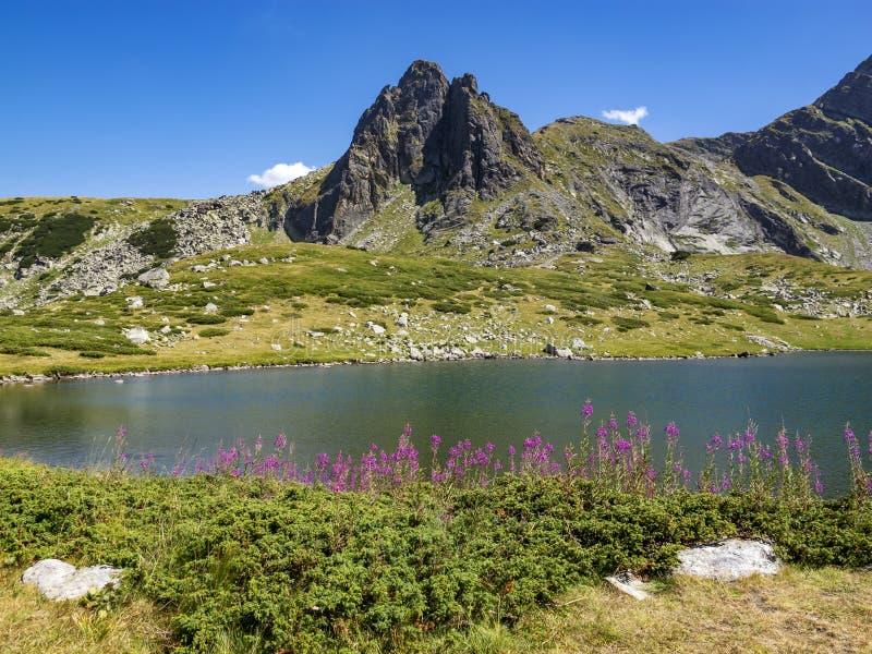 Il Mountain View di Rila del bulgaro al lago gemellato e Haramijata alzano, anche conosciuto come picco di Hajduta immagini stock