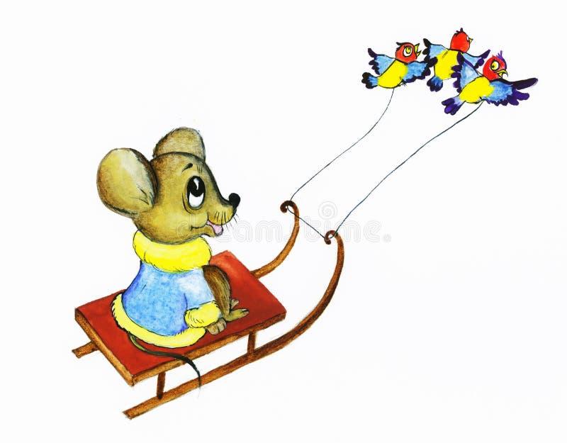 Download Il Mouse Degli Uccellini Guida Le Slitte Illustrazione di Stock - Illustrazione di gennaio, illustrazione: 3880882