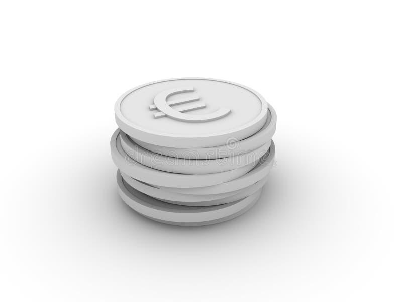 Il mucchio di 3D conia (euro) fotografie stock