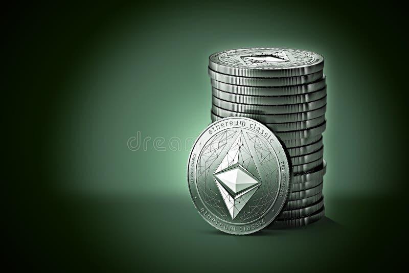 Il mucchio o la pila di Ethereum d'argento ecc classico conia su fondo verde blu delicatamente acceso royalty illustrazione gratis