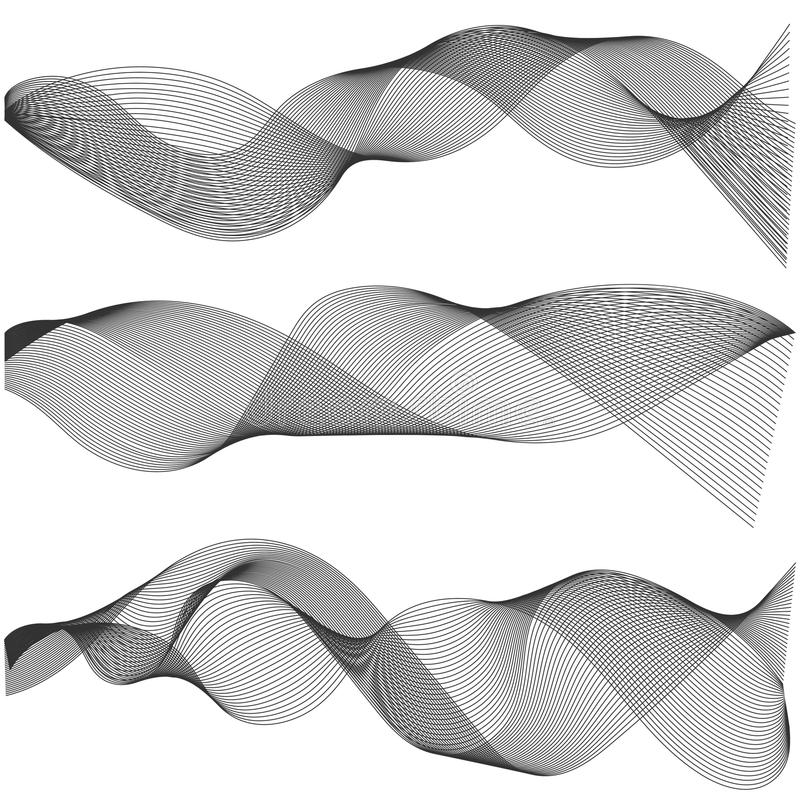 Il multiplo ondeggia le bande ondulate astratte, elementi di progettazione creati facendo uso dello strumento di miscela, Vector  illustrazione vettoriale