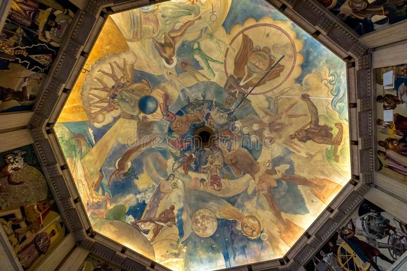 Il murale del soffitto di Ballin a Griffith Observatory - Los Angeles, California, U.S.A. fotografia stock