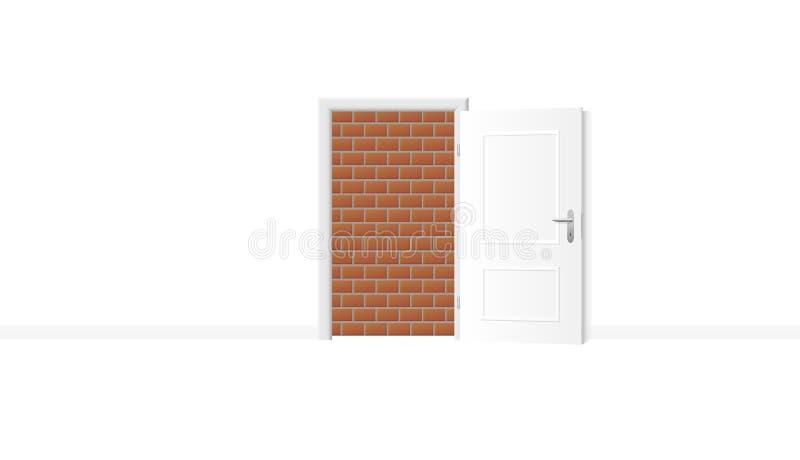 Il muro di mattoni alto murato della porta aperta ha bloccato illustrazione di stock