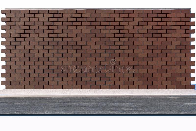 Il muro di mattoni e la via del passo, rappresentazione 3d illustrazione vettoriale