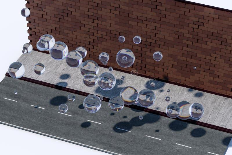 Il muro di mattoni e la via del passo, rappresentazione 3d royalty illustrazione gratis