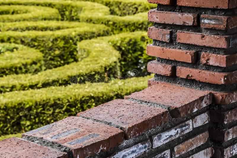 Il muro di mattoni rosso e l'astrazione verde del fondo del giardino contrappongono fotografie stock