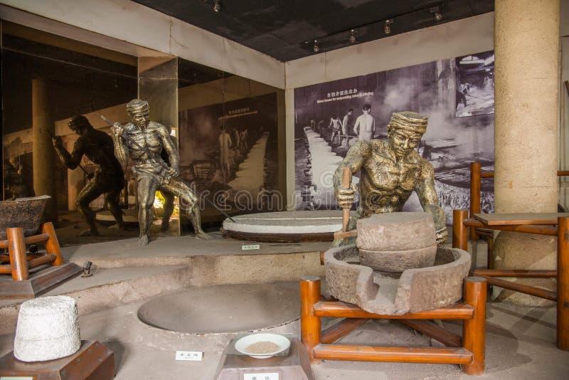 Il museo del sale di Zigong mostra il modello trattato del campo antico della tecnologia del sale fotografie stock