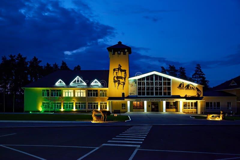 Il museo della natura della riserva di biosfera di Voronež Vista di notte fotografie stock
