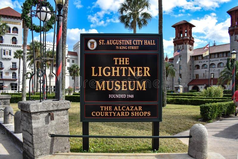 Il museo di Lightner firma dentro la st Augustine City Hall alla costa storica di Florida fotografia stock