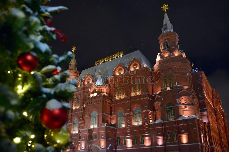 Il museo storico dello stato nelle feste del nuovo anno fotografia stock