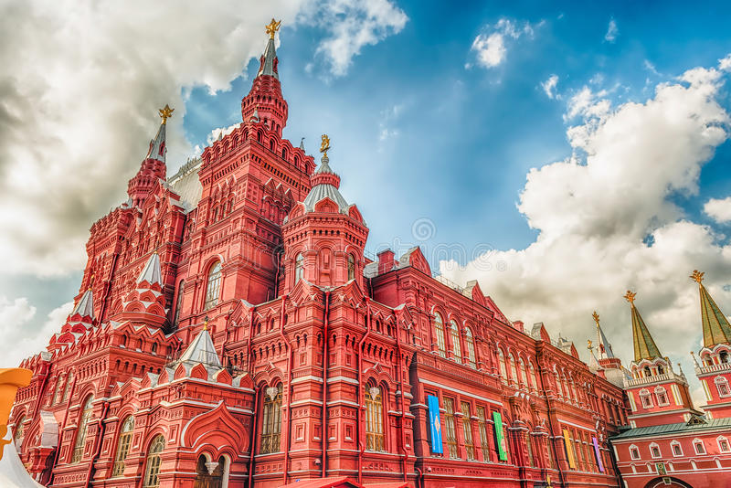 Il museo storico dello stato sul quadrato rosso, Mosca, Russia fotografie stock libere da diritti