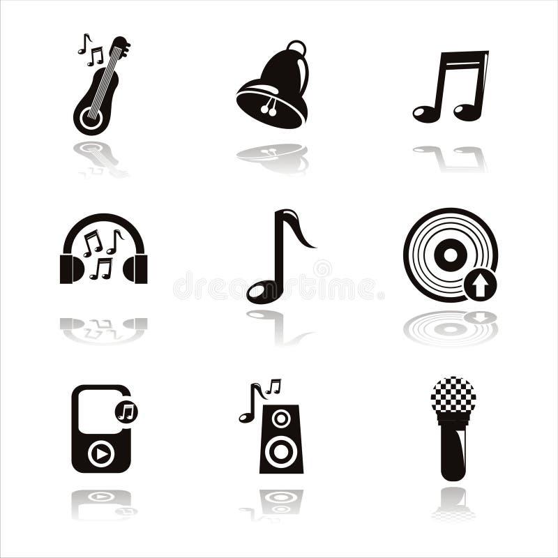il musical nero lavora le icone illustrazione di stock