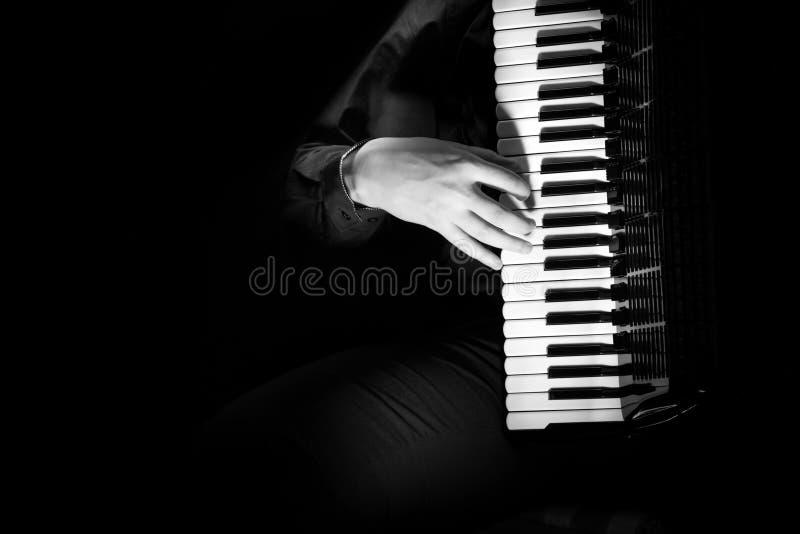 Il musicista gioca la fisarmonica contro un fondo scuro fotografia stock