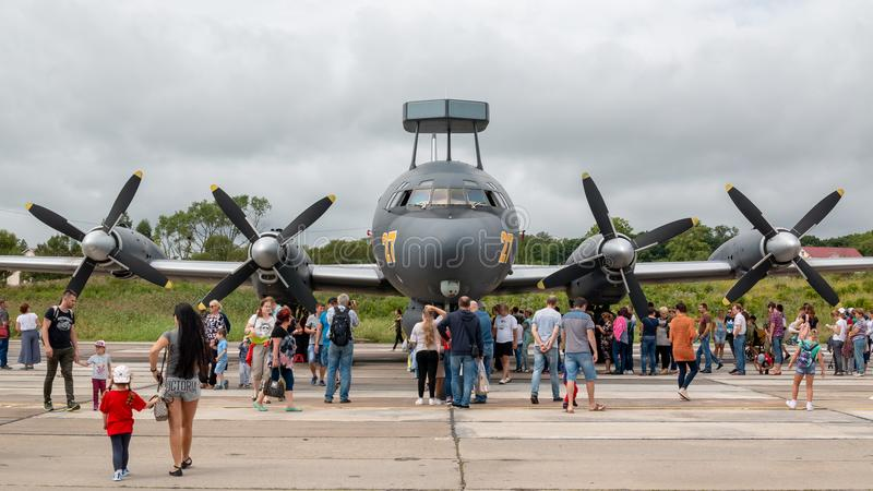 Il38N在每年军事陈列俄国军队的反潜艇航空器2018年在中央Uglovoe机场 库存图片