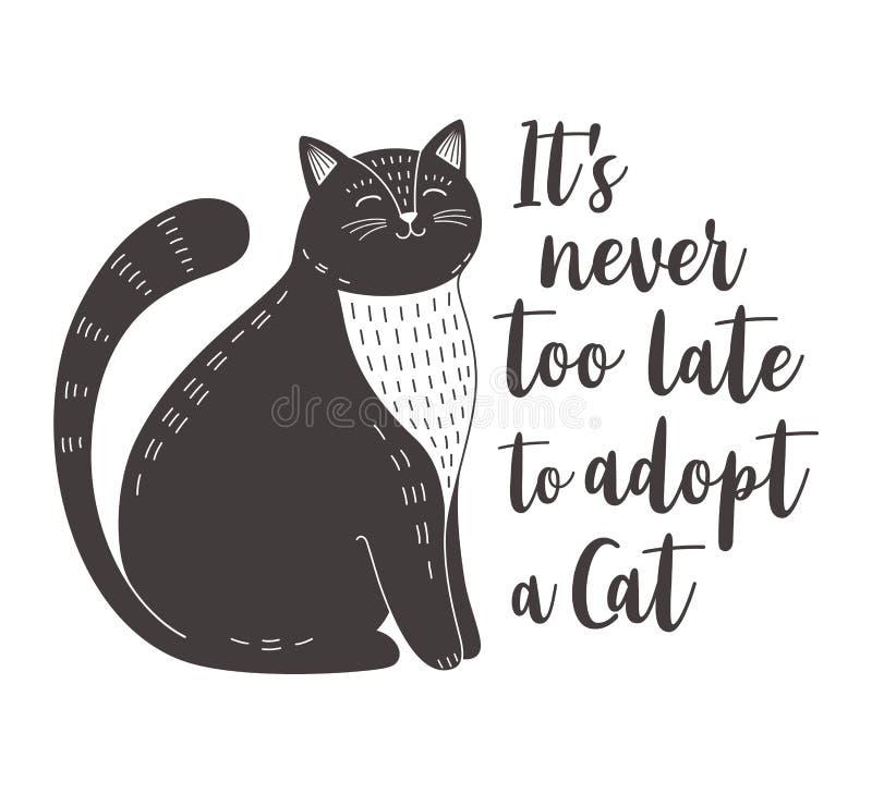 Il n'est jamais trop tardif pour adopter un chat illustration de vecteur