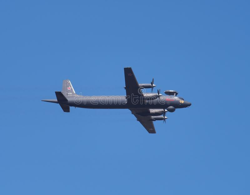 The Il-38N in flight. Russian anti-submarine aircraft. Parade in. Honor of Russian Navy day in St. Petersburg/Russia - August 29, 2018. Weapon stock photos