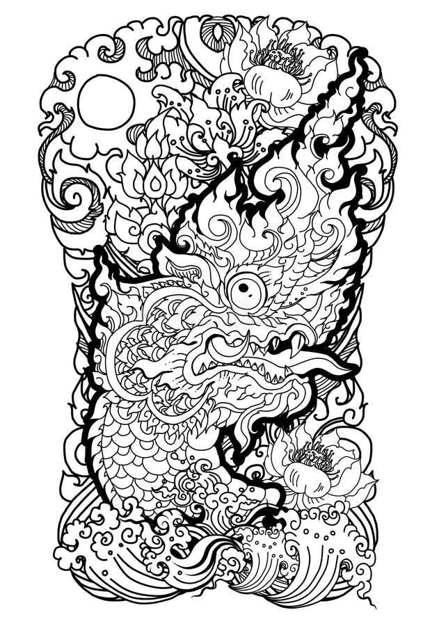 Il Naga è re del serpente e dell'animale del budhism Il vettore tailandese dell'isolato del drago, allinea tailandese è progettaz royalty illustrazione gratis