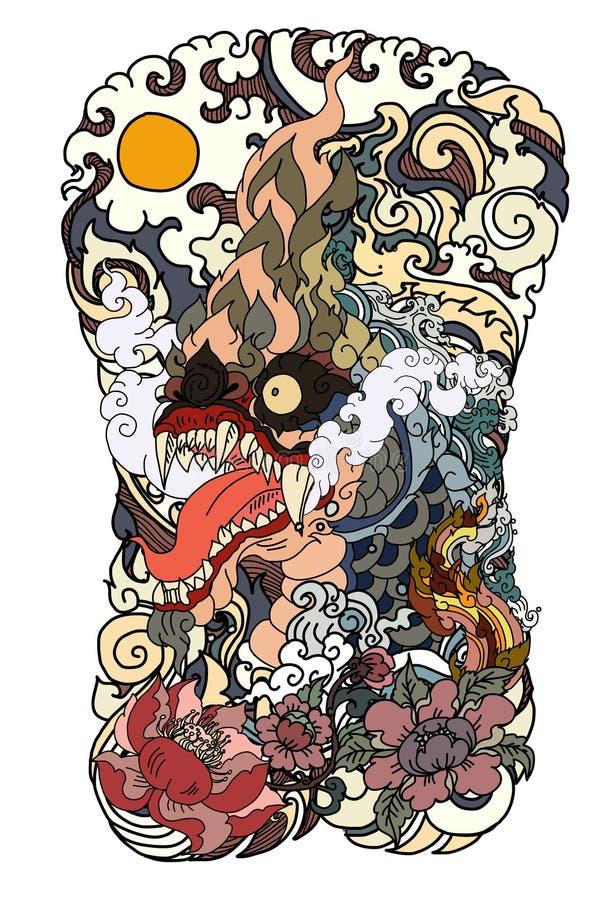 Il Naga è re del serpente e dell'animale del budhism Il vettore tailandese dell'isolato del drago, allinea tailandese è progettaz illustrazione di stock