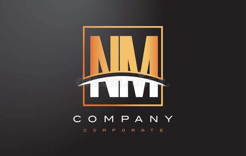 Il nanometro N m. Golden Letter Logo Design con il quadrato dell'oro e mormora royalty illustrazione gratis