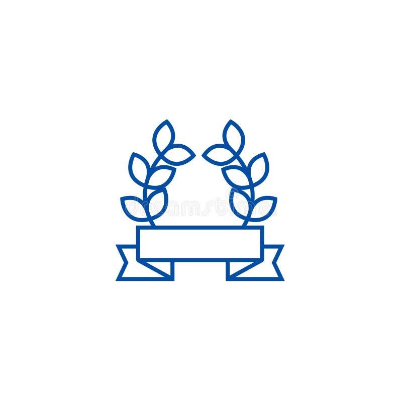 Il nastro del premio con le foglie allinea il concetto dell'icona Nastro del premio con il simbolo piano di vettore delle foglie, illustrazione vettoriale