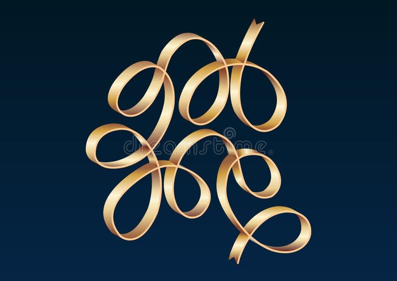 Il nastro dell'oro celebra l'illustrazione di vettore di pendenza illustrazione vettoriale