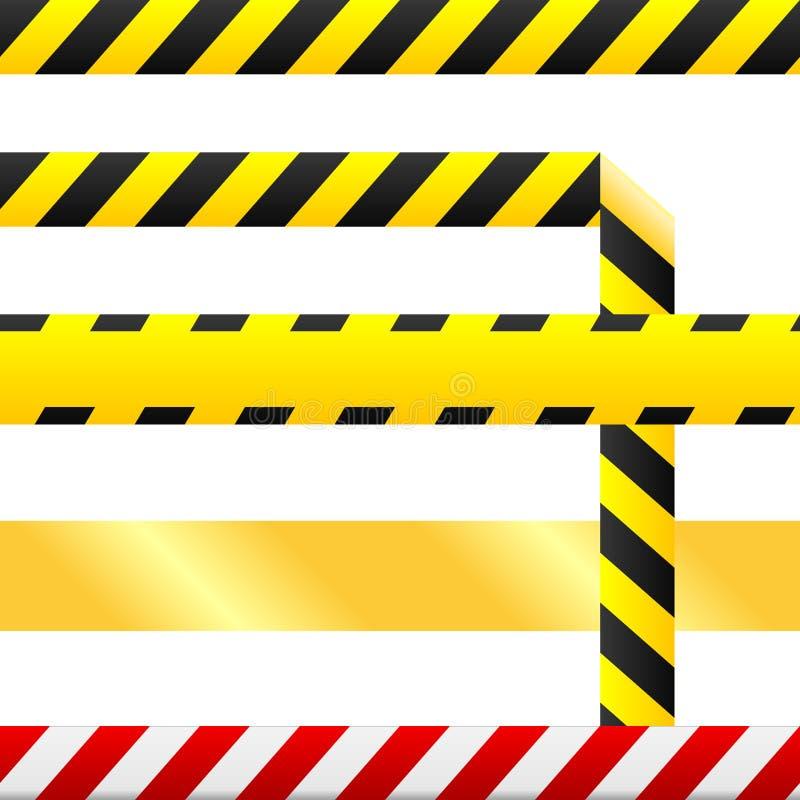 Il nastro di avvertenza e segnale di pericolo dentro il vettore senza giunte royalty illustrazione gratis