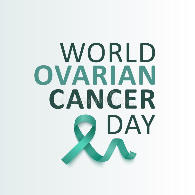 Il nastro di verde dell'alzavola di consapevolezza del cancro ovarico con l'illustrazione di vettore del testo ha isolato royalty illustrazione gratis