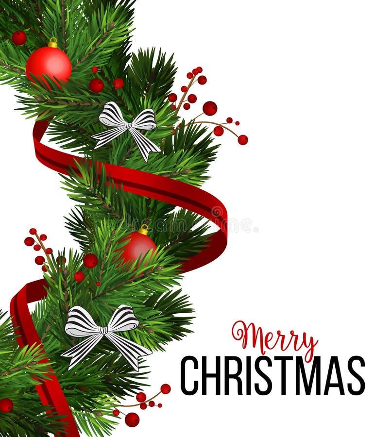 Il Natale avvolge le decorazioni con l'albero di abete, gli archi barrati, le pigne, le bacche dell'agrifoglio e gli elementi dec royalty illustrazione gratis