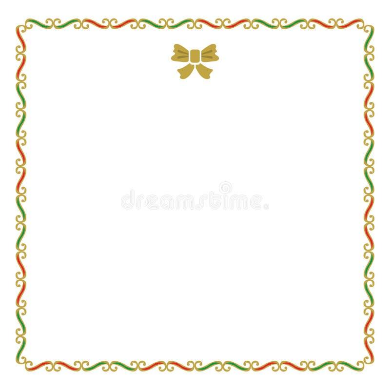 Il Natale in bianco dorato, rosso e verde confina la carta di nota illustrazione vettoriale