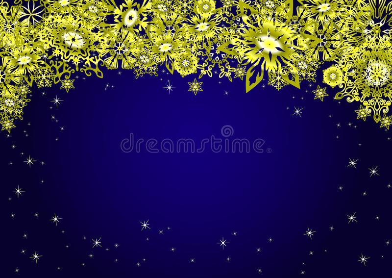 Il Natale blu completa il fondo della struttura con i fiocchi di neve e le stelle dell'oro Illustrazione di vettore royalty illustrazione gratis