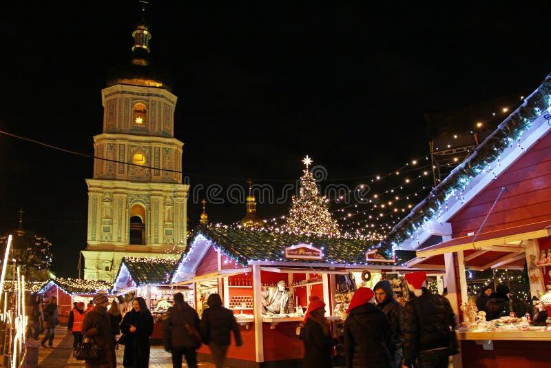 Il Natale commercializza in Kyiv fotografie stock libere da diritti