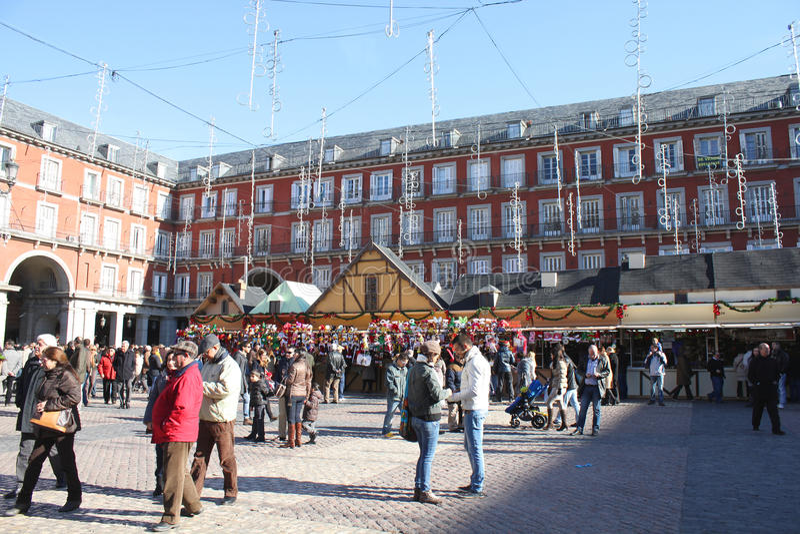 Il Natale commercializza a Madrid fotografie stock libere da diritti