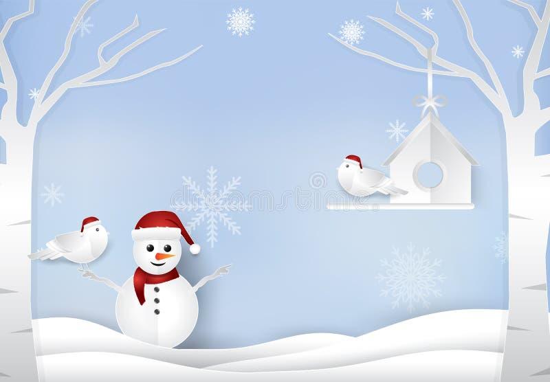 Il Natale condisce con il fondo dell'inverno degli uccelli delle coppie e del pupazzo di neve illustrazione vettoriale