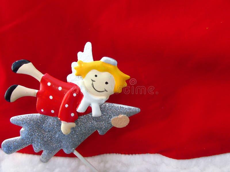 Il Natale condisce il tema, con l'angelo Vista superiore della composizione in festa di Natale Priorità bassa di natale immagine stock