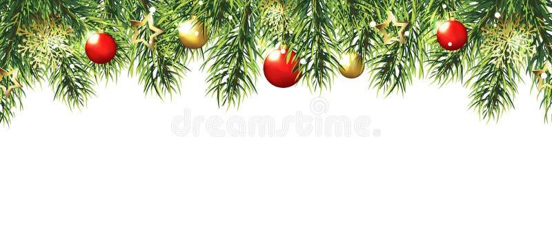 Il Natale confina con gli alberi, rosso e palle e stelle dell'oro isolate su fondo bianco illustrazione vettoriale