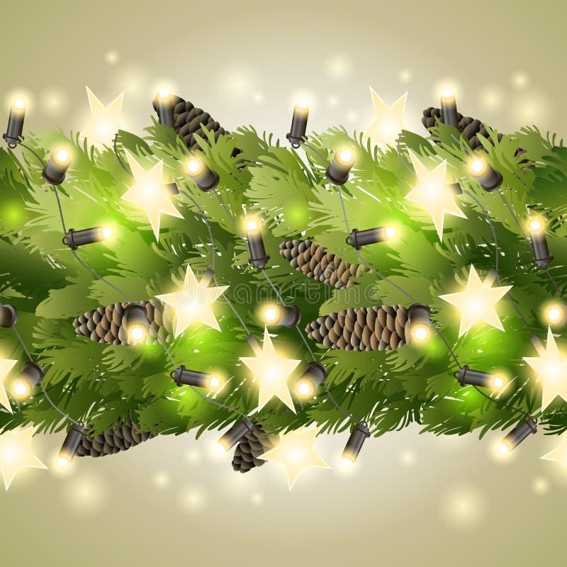 Il Natale confina con i rami e la ghirlanda dell'abete royalty illustrazione gratis