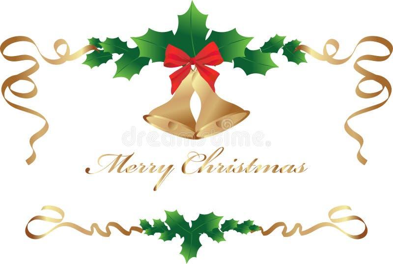 Il Natale confina con l'arco rosso e le foglie sante royalty illustrazione gratis