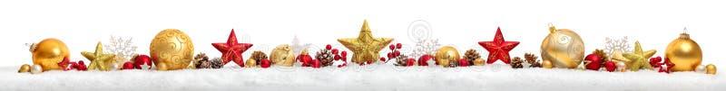 Il Natale confina o insegna con le stelle e le bagattelle, backgro bianco fotografie stock