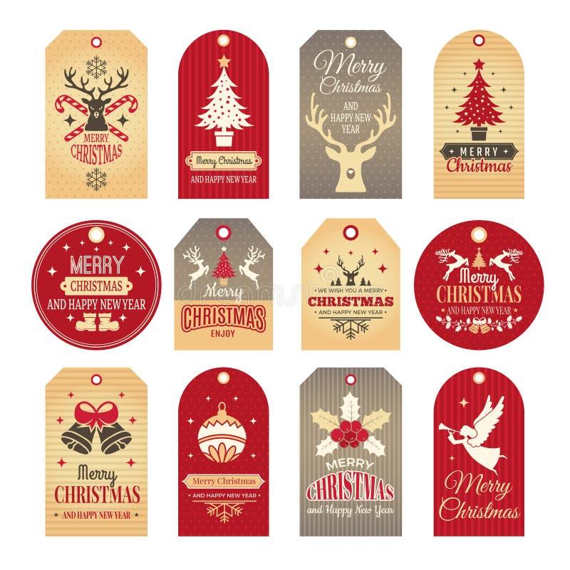 Il natale contrassegna le decorazioni isolate Etichette e distintivi di festa con gli elementi del nuovo anno di inverno e le ill illustrazione vettoriale