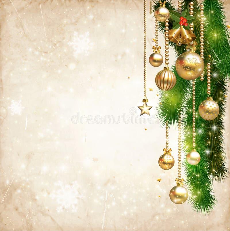 Il Natale d'annata decora contro il vecchio fondo di carta di struttura illustrazione vettoriale