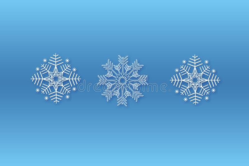 Il Natale del fiocco di neve progetta il fondo blu Tre modelli del fiocco di neve per creare le spazzole Priorità bassa della nev royalty illustrazione gratis