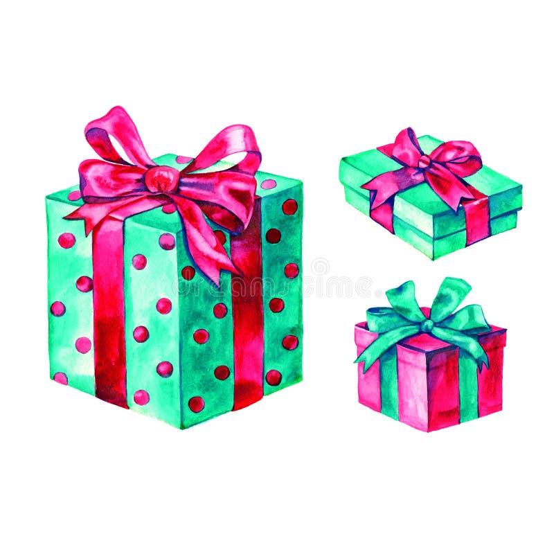 Il Natale dell'acquerello ha messo con i presente, contenitori di regalo, isolati illustrazione di stock
