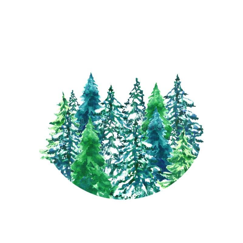 Il Natale dell'acquerello si inverdisce gli alberi isolati sul paesaggio bianco della foresta dell'inverno del fondo royalty illustrazione gratis