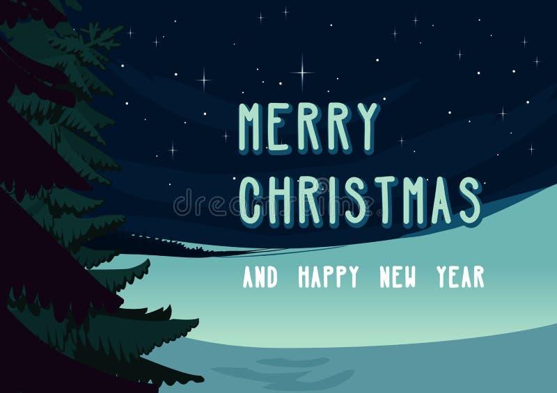 Il Natale dell'inverno abbellisce la scena, il prato nevoso di notte con l'albero attillato e le stelle sul cielo Carta di proget illustrazione di stock
