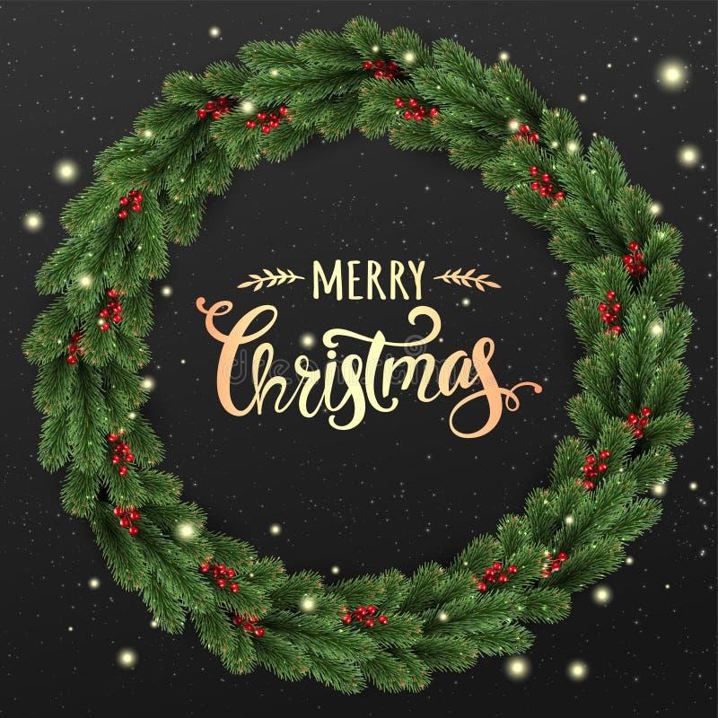 Il Natale dell'oro manda un sms a su fondo nero con la corona di Natale dei rami di albero, le bacche, le luci, fiocchi di neve illustrazione di stock